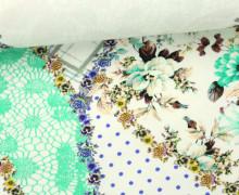 Jersey - Patchwork Style - Blumen - Punkte - Karos - Spitze - Grün/Weiß