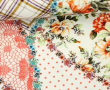Jersey - Patchwork Style - Blumen - Punkte - Karos - Spitze - Rot/Weiß