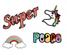 1 Set Aufbügler - 4 Stück - Super - Peace - Regenbogen - Einhorn