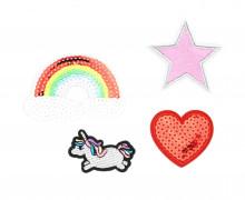 1 Set Aufbügler - 4 Stück - Regenbogen - Einhorn - Herz - Stern