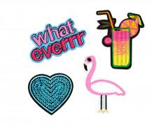 1 Set Aufbügler - 4 Stück - Flamingo - Coctail - Herz - What Ever