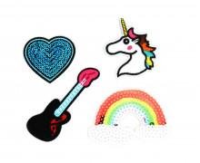 1 Set Aufbügler - 4 Stück - Regenbogen - Gitarre - Einhorn - Herz