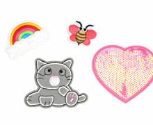 1 Set Aufbügler - 4 Stück - Katze - Biene - Regenbogen - Herz