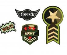 1 Set Aufbügler - 4 Stück - Army - Air Force - What - Abzeichen