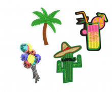 1 Set Aufbügler - 4 Stück - Kaktus - Coctail - Palme - Luftballons