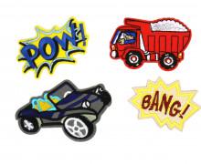 1 Set Aufbügler - 4 Stück - Pow - Bang - Auto - Laster