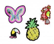 1 Set Aufbügler - 4 Stück - Ananas - Schmetterling - Papagei - Tucan