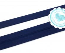 1 Meter elastisches Schrägband - 15mm - Jersey - Dunkelblau