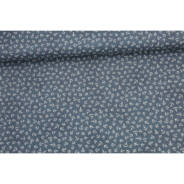 stoff anker ahoy me hearties janet clare dunkelblau. Black Bedroom Furniture Sets. Home Design Ideas