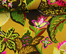 Stoff - African - Blumen - Kokka - Tréfle - Ocker