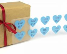 1 Bogen Bügelbilder – Gr. 146/152 – Herzen – Größenlabel – Hellblau