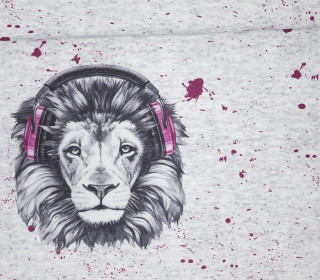 Sommersweat - Bio Qualität - Paneel - Lion Sounds - pink - grau - meliert - abby and me