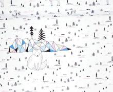 Sommersweat - GOTS - Paneel - Arctic Fox - Weihnachten - weiß - abby and me