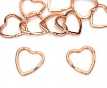 10 breite Schlüsselringe - Schlüsselanhänger - Herz - Rosegold