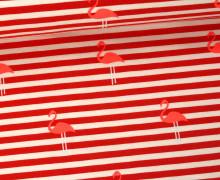 Jersey - Flamingo - Streifen - Weiß/Rot