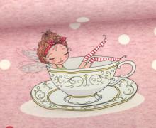 Sommersweat - Bio Qualität - Paneel - Fairy Christmas Tea - Weihnachten - Rosa Meliert - abby and me