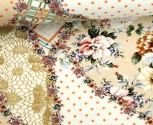 Jersey - Patchwork Style - Blumen - Punkte - Karos - Spitze - Beige/Weiß