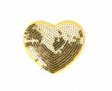 1 Aufbügler - Herz - Pailletten - Glänzend - Gold