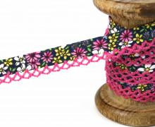 1m Schrägband - Häkelborte - Blumen - Nachtblau/Pink