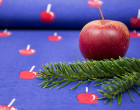 Jersey - 1 Meter - Liebesäpfel - Weihnachten - 2. Wahl - blau - zart meliert - moDeern