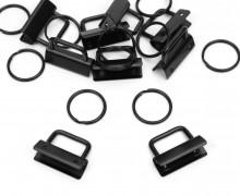 10 Schlüsselanhänger Rohlinge - 2,5cm - Schlüsselband - Schwarz
