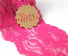 1m elastische Spitze - 95mm - Blumen - Pink