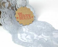 1m elastische Spitze - 95mm - Blumen - Hellgrau