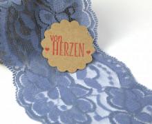 1m elastische Spitze - 95mm - Blumen - Taubenblau