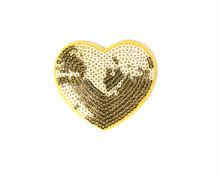 1 Aufbügler - Herz - Pailletten - 5cm - Glänzend - Gold
