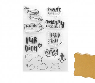 1 Set Clear Stamps - Stempel - Acrylblock - Handmade - Transparent