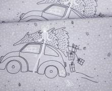 Sommersweat - Bio Qualität - Paneel - Little Christmas - ChristmasCar - Weihnachten - grau - meliert - Little Loveling - abby and me