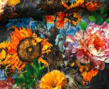 Samt - Blumen - Sonnenblumen - Royal - Schwarz