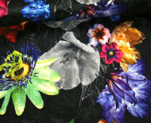 Samt - Blumen - Passionsblumen - Royal - Schwarz