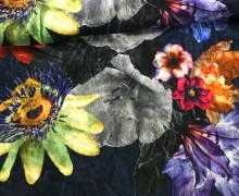 Samt - Blumen - Passionsblumen - Royal - Dunkelblau