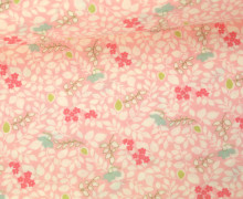 Stoff - Blumen - Blätter - Caroline - Brenda Riddle - Pastellrosa