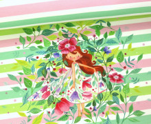 Sommersweat - Paneel - Blütenelfe  Streifen - Wildblume - abby and me