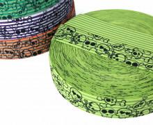 1 Meter Gummiband - Totenköpfe - kleine Streifen - Zweifarbig - 40mm - Gelbgrün/Olivgrün
