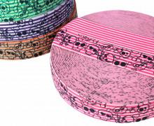 1 Meter Gummiband - Totenköpfe - kleine Streifen - Zweifarbig - 40mm - Pink/Rosa