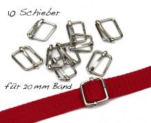 10 Schieber - Metall - 20mm Band - Silber