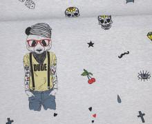 Sommersweat - Paneel - Coole Typen - Jannis - Panda - grau - meliert - abby and me
