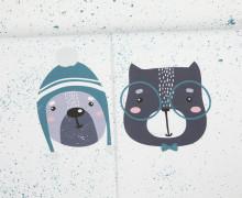 Sommersweat - GOTS - Paneel - Sprinkle Buddies - Hund und Katze - petrol - weiß - abby and me