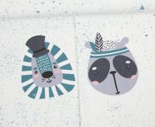 Sommersweat - Bio Qualität - Paneel - Sprinkle Buddies - Löwe und Panda - petrol - weiß - abby and me