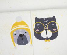 Sommersweat - GOTS - Paneel - Sprinkle Buddies - Hund und Katze - gelb - weiß - abby and me