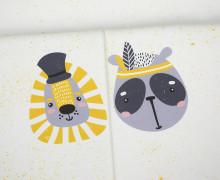 Sommersweat - Bio Qualität - Paneel - Sprinkle Buddies - Löwe und Panda - gelb - weiß - abby and me