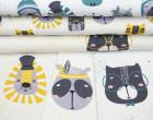 Sommersweat - GOTS - Paneel - Sprinkle Buddies - Löwe und Panda - gelb - weiß - abby and me