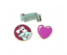3 Anstecker - Pin - Herz-Sew love - Stoffmafia - Afsm