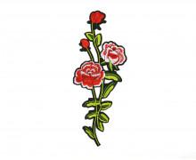 1 Aufbügler - Patch - Blumen - Blätter - Gestickt - 11cm x 28cm - Schwarz