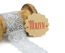 1 Meter elastische Spitze - 35mm - Blumen - Mini Schlaufen - Grau