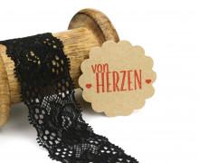 1 Meter elastische Spitze - 35mm - Blumen - Mini Schlaufen - Schwarz