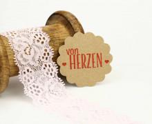 1 Meter elastische Spitze - 35mm - Blumen - Mini Schlaufen - Hellrosa